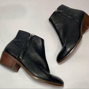 J crew Reagan leather black zip ankle bootie